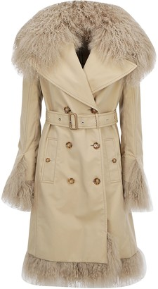 Burberry Shearling Trim Belted Trench Coat