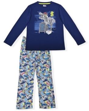 Sleep On It Big Boys Dinosaur Fleece 2 Piece Pajama Set with Cozy Socks
