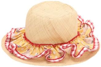 Ruffled Wide Brim Straw Hat W/ Bow