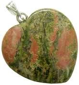 BestAmulets A Lucky Puffy Unakite Gemstone Heart Spiritual Protection Talisman Pendant