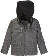 Urban Republic Ribbed Shoulder Faux Leather Hooded Jacket (Big Boys)