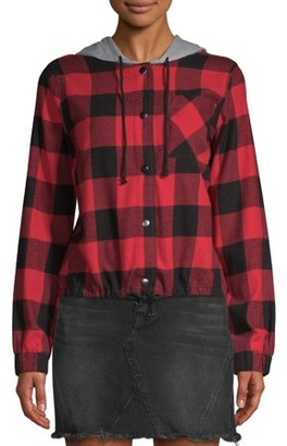 No Boundaries Juniors' Cinched Waist Plaid Hoodie