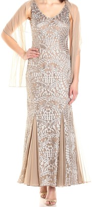 Alex Evenings Women's Long Embroidered Gown with Shawl Dress