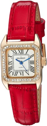 Peugeot Women's 14K Gold-Plated Tank Crystal Bezel Roman Numeral Red Leather Band Watch 3052RD
