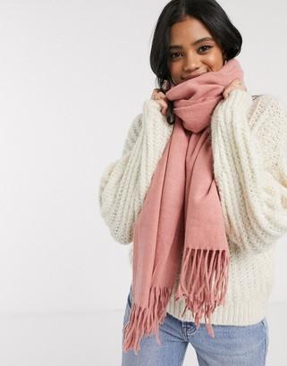 Pieces Pink Soft Wool Tassel Scarf