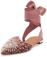 Aquazzura Stellar Embellished Velvet Ankle-Wrap Flat, Antique Rose