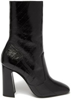 Saint Laurent Maddie Squared-toe Patent-leather Ankle Boots - Womens - Black