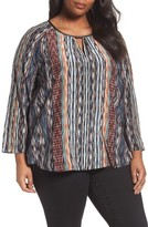 Nic+Zoe Plus Size Women's Color Streaks Silk Blend Keyhole Top