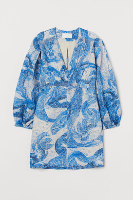 H&M Mosaic-patterned Linen Dress - Blue