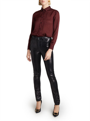 Saint Laurent High Waisted Shiny Skinny Jeans