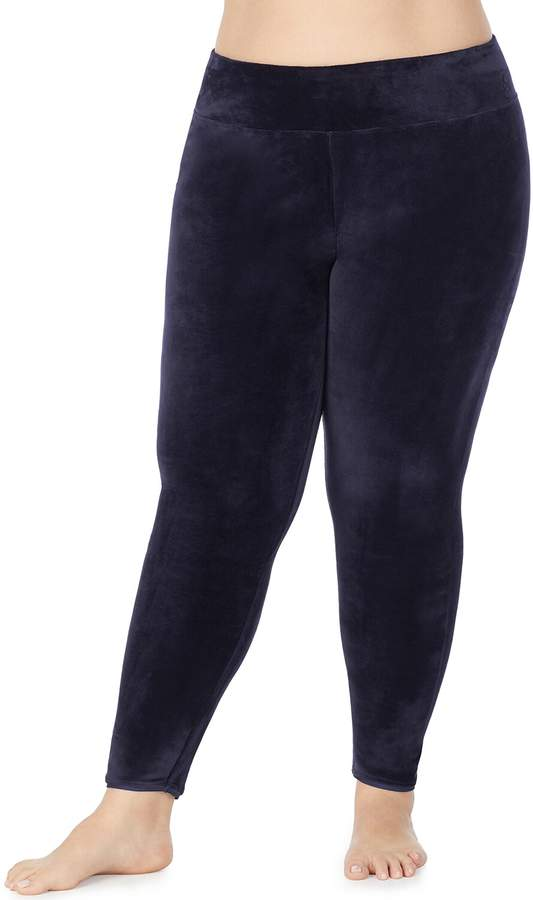 Cuddl Duds Plus Size Double Plush Velour Legging