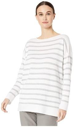 Eileen Fisher Peruvian Organic Cotton Bateau Neck Top (White/Dark Pearl) Women's Clothing