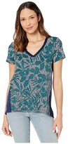 Tommy Bahama Breezy Blooms Mixed V-Neck Tee (Deep Sea Teal) Women's T Shirt