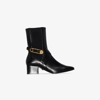 Versace Black 40 Safety Pin Leather Ankle Boots