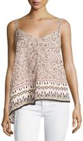 French Connection Printed Strappy-Shoulder V-Neck Top, Anemone Multi