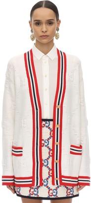 Gucci Woven Wool Blend Knit Cardigan