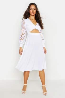 boohoo Pom Pom Trim Mixed Lace Midi Dress