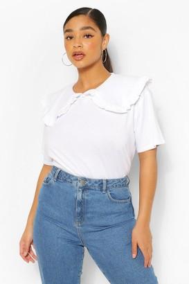 boohoo Plus Frill Collar Cotton T-Shirt