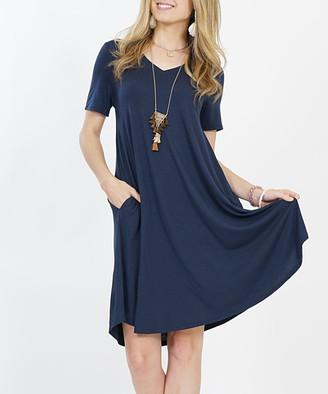 Lydiane Women's Casual Dresses MIDNIGHT - Midnight V-Neck Short-Sleeve Curved-Hem Pocket Tunic Dress - Women