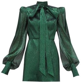 The Vampire's Wife The Pussybow Plisse Silk-blend Lame Mini Dress - Womens - Dark Green