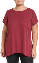 Vince Camuto Short-Sleeve High-Low Hem Blouse, Merlot, Plus Size