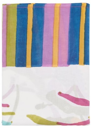 Lisa Corti - Japanese 220cm X 220cm Floral Cotton Tablecloth - White Multi