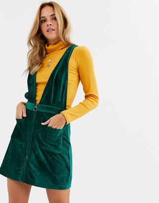 Moon River velvet cord pinafore dress-Green