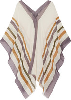 Eres Striped Cotton And Cashmere-blend Gauze Poncho - Off-white