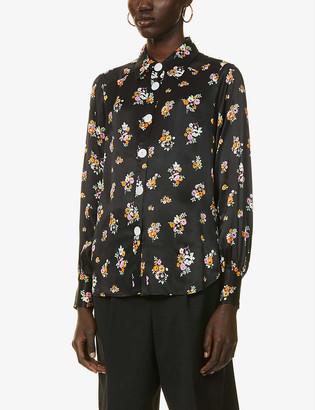 Kitri Joana ditsy floral-print satin shirt