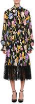 Dolce & Gabbana Long-Sleeve Tie-Neck Iris-Print Charmeuse Blouse