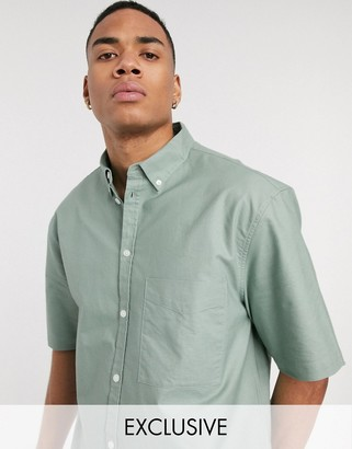 Reclaimed Vintage inspired short sleeve shirt in sage green
