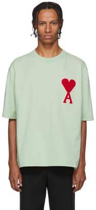 Ami Alexandre Mattiussi Green Ami De Coeur Patch T-Shirt