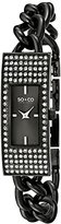 SO&CO New York Women's 5058.2 Madison Quartz Crystal Filled Bezel Black Slim Stainless Steel Chain Link Bracelet Watch