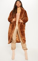 4fashion Tall Brown Faux Fur Long Line Coat