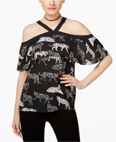 INC International Concepts Printed Cold-Shoulder Flounce Top, Only at Macy's