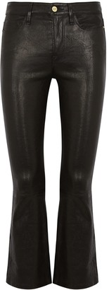 Frame Le Crop Mini Boot Black Leather Jeans