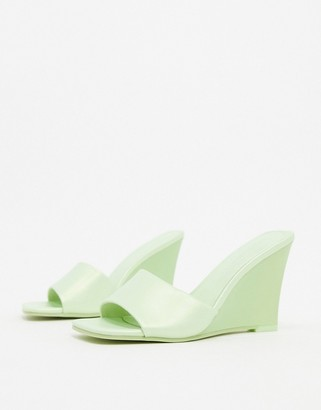 ASOS DESIGN Tangle wedge mules in lime