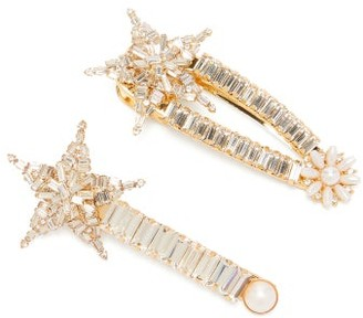 MaryJane Claverol Set Of Two Cassiopeia Crystal Hair Clips - Womens - Crystal