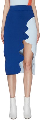 Ph5 Asymmetric Scallop Hem Midi Skirt