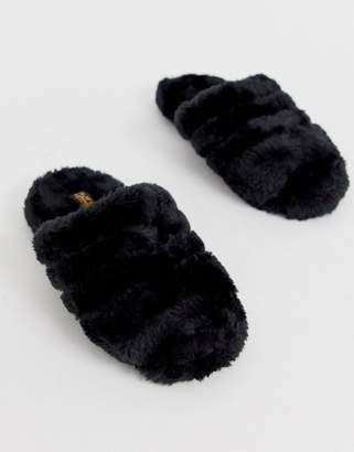 Truffle Collection faux fur slippers-Black
