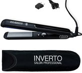 """Inverto PRO 1"""" Ceramic Tourmaline and Titanium Plates Flat Iron Hair Straightener Curler Free Thermal Pouch and Euro Travel Adapter, Worldwide Dual Voltage 110v-220v 450°f (232°c) Great for Keratin Treatments and for Hair Curling"""
