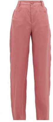 ALBUS LUMEN Lumen High-rise Linen Straight-leg Trousers - Womens - Pink