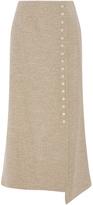 Rosie Assoulin Blended Linen Wrap Snap Midi Skirt