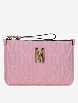 Moschino Clutch Bag In Quilted Leather With Big Monogram