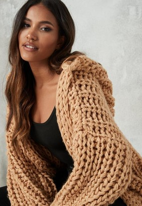 Missguided Stone Hand Knit Hooded Cardigan
