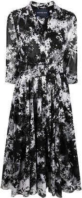 Samantha Sung Aster palm print midi dress