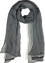 Laura Biagiotti Black and White Double Chiffon Silk Stole