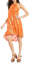 MICHAEL Michael Kors Samara Paisley Foil Print Halter Chain Neck Dress