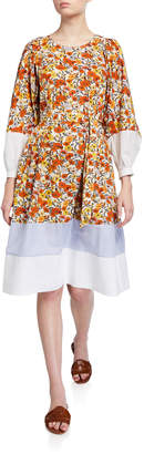 Tory Burch Floral-Print Border-Trim Jewel-Neck Cotton Dress