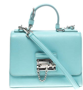 Dolce & Gabbana Sky Blue Lizard Embossed Leather Small Miss Monica Top Handle Bag